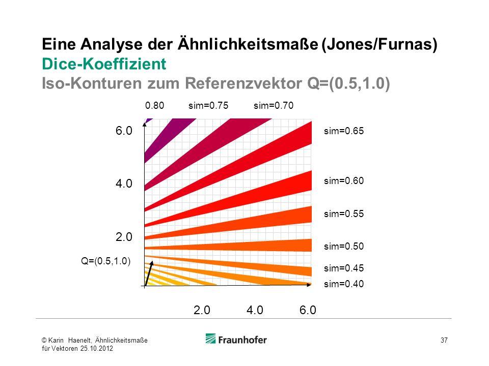 Eine Analyse der Ähnlichkeitsmaße (Jones/Furnas) Dice-Koeffizient Iso-Konturen zum Referenzvektor Q=(0.5,1.0)