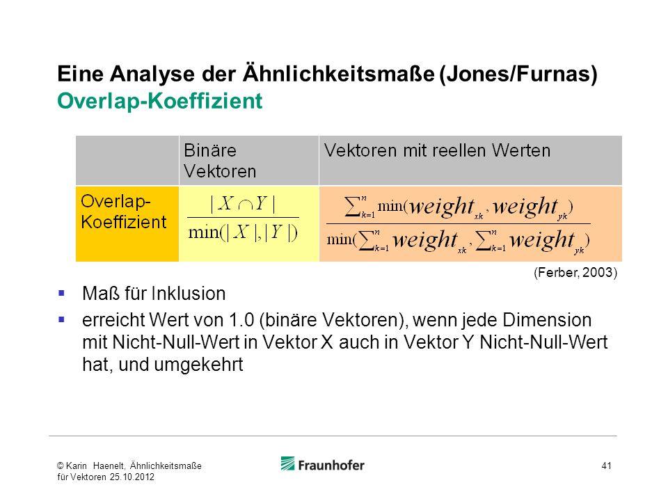 Eine Analyse der Ähnlichkeitsmaße (Jones/Furnas) Overlap-Koeffizient
