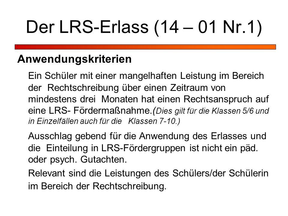 Der LRS-Erlass (14 – 01 Nr.1) Anwendungskriterien