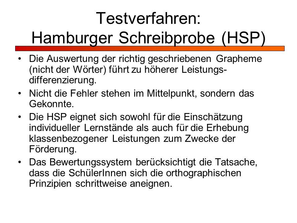 Testverfahren: Hamburger Schreibprobe (HSP)