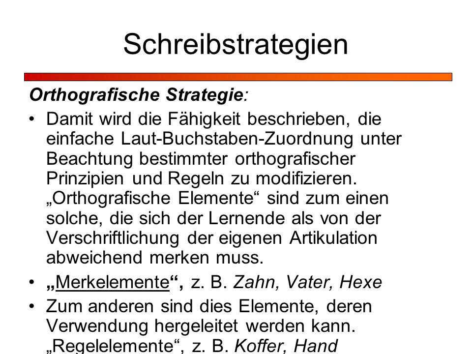 Schreibstrategien Orthografische Strategie: