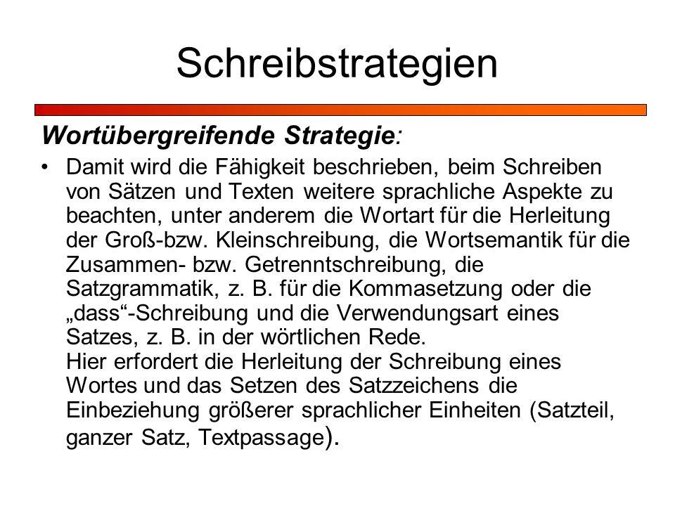 Schreibstrategien Wortübergreifende Strategie: