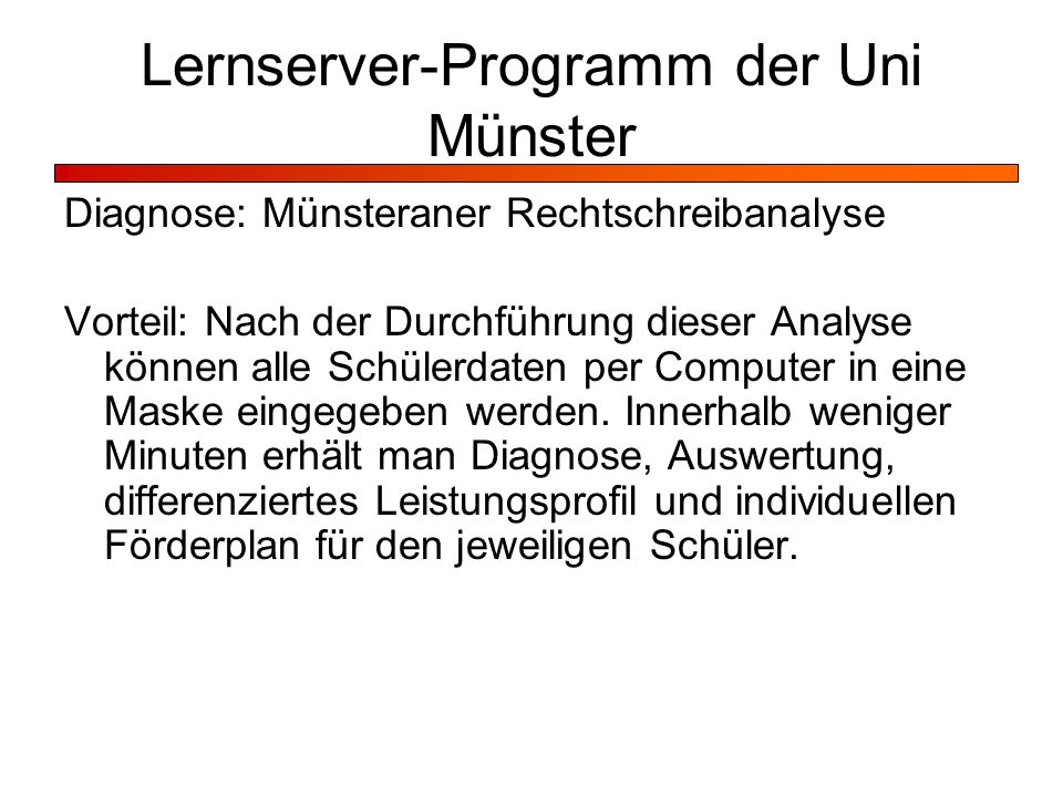 Lernserver-Programm der Uni Münster