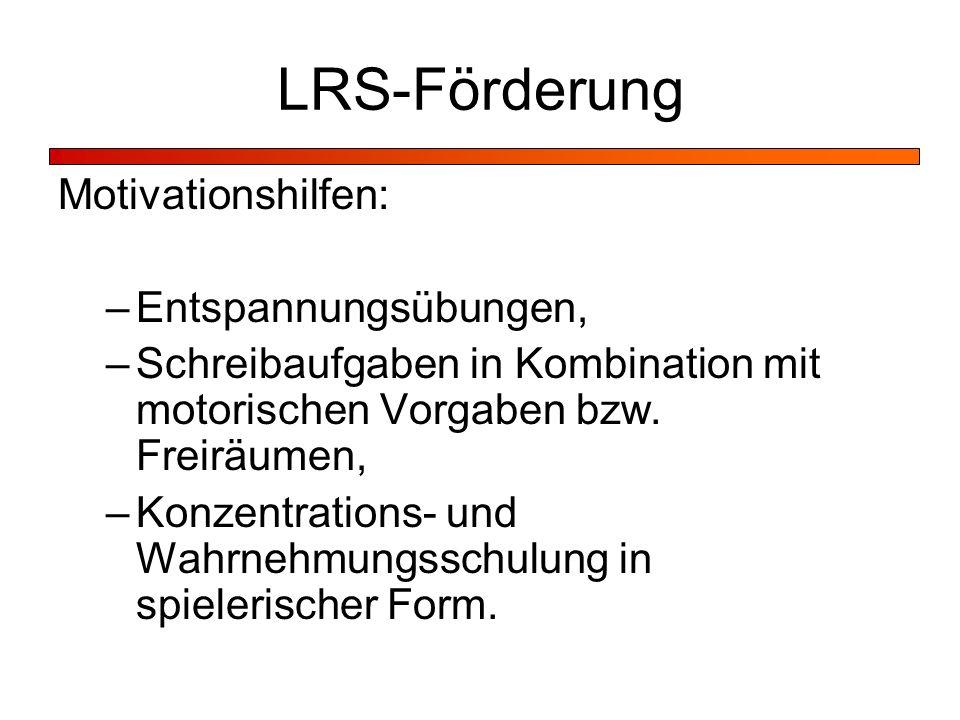 LRS-Förderung Motivationshilfen: Entspannungsübungen,