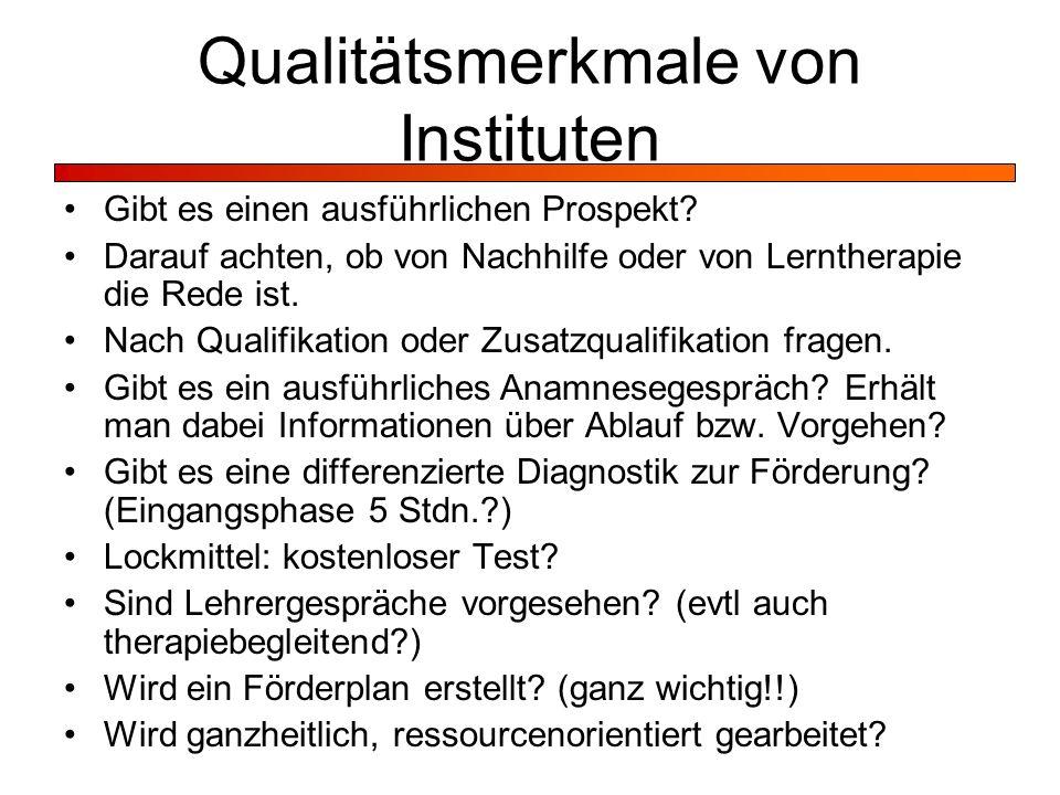 Qualitätsmerkmale von Instituten