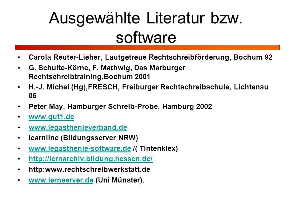 Ausgewählte Literatur bzw. software
