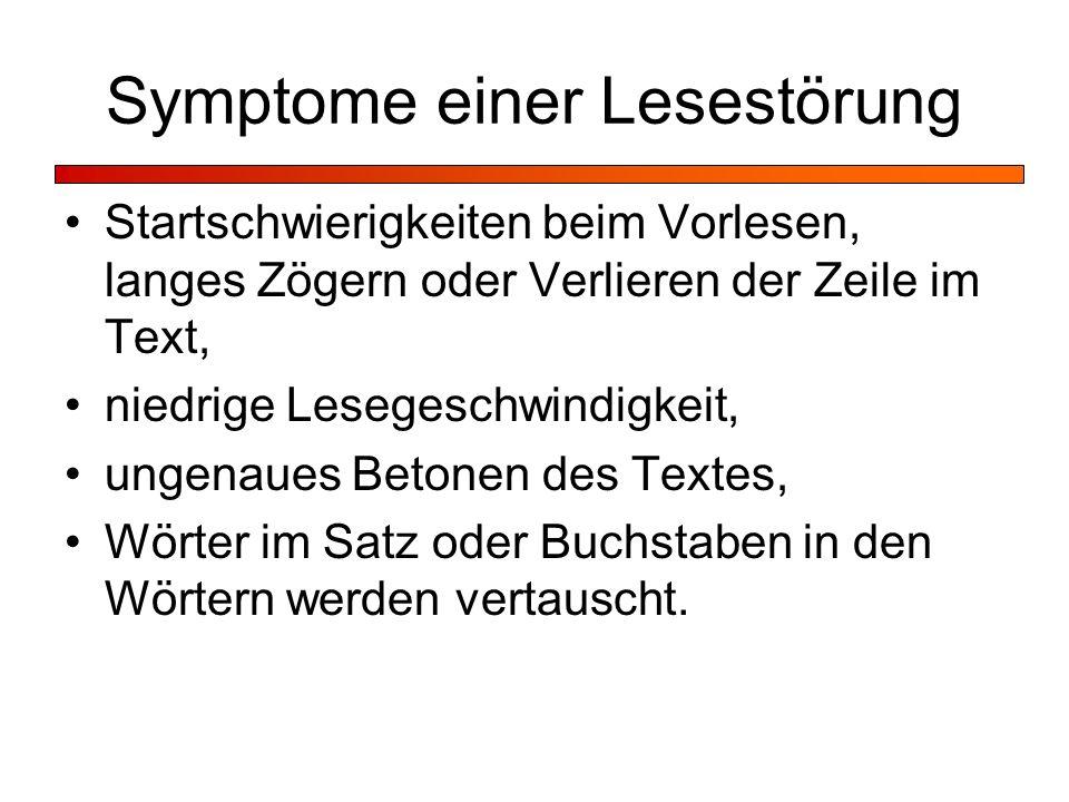 Symptome einer Lesestörung