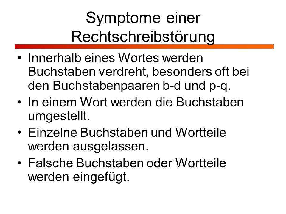 Symptome einer Rechtschreibstörung