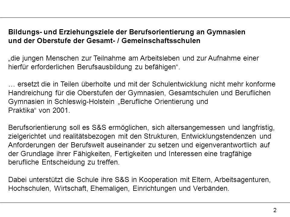 Bildungs- und Erziehungsziele der Berufsorientierung an Gymnasien und der Oberstufe der Gesamt- / Gemeinschaftsschulen