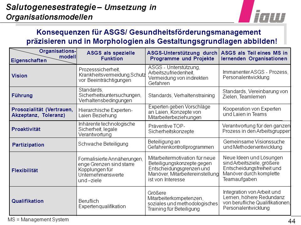 Salutogenesestrategie – Umsetzung in Organisationsmodellen
