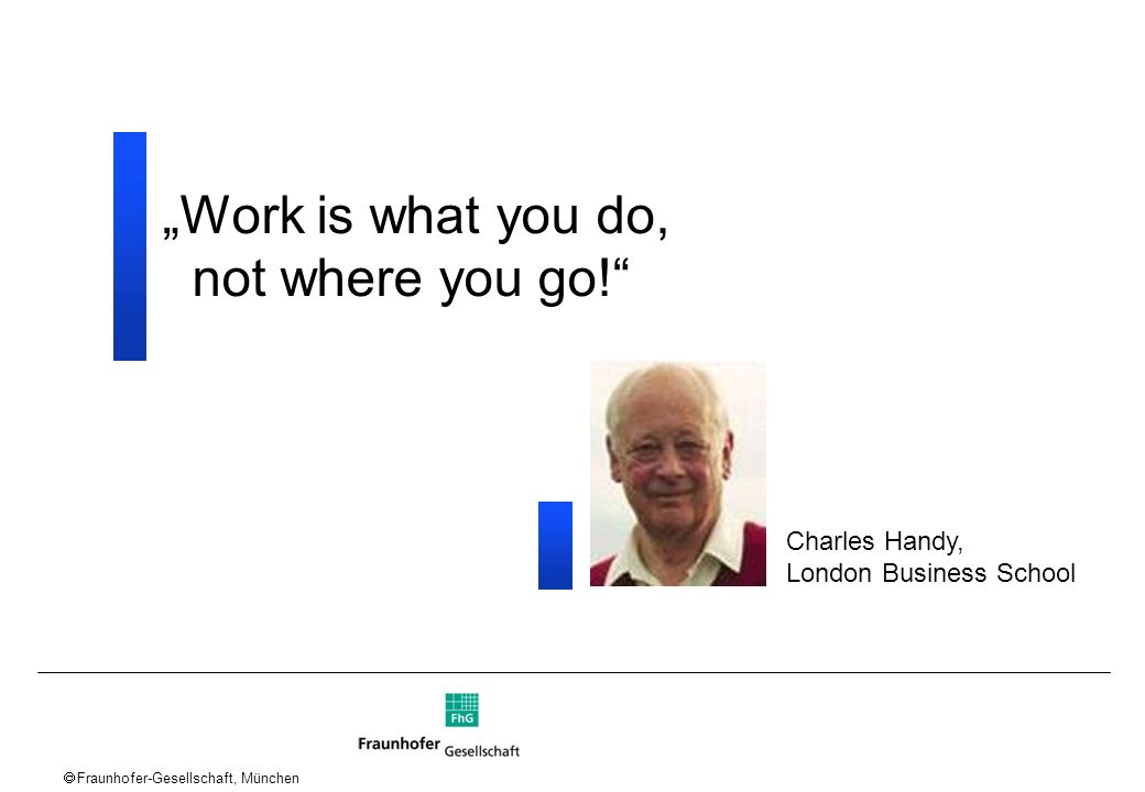 """Work is what you do, not where you go! Charles Handy,"