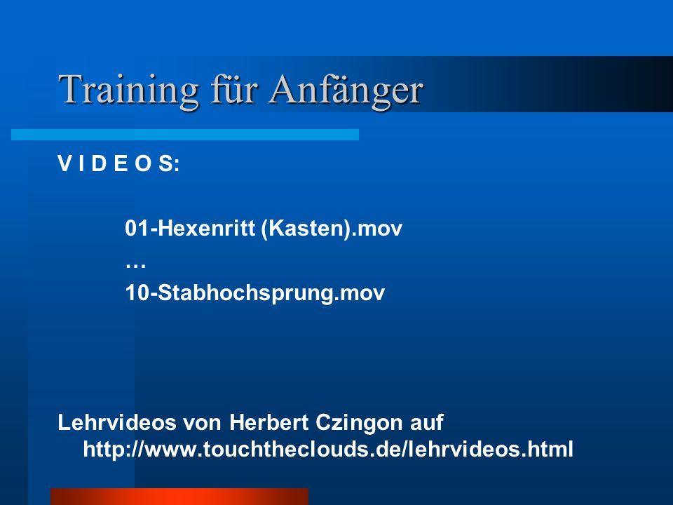 Training für Anfänger V I D E O S: 01-Hexenritt (Kasten).mov …