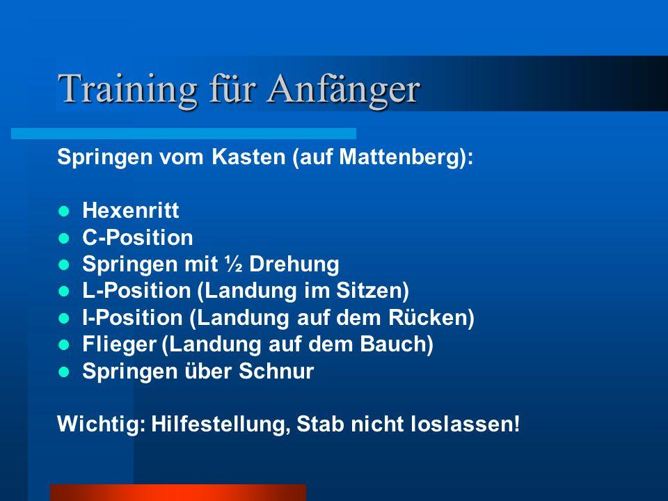 Training für Anfänger Springen vom Kasten (auf Mattenberg): Hexenritt