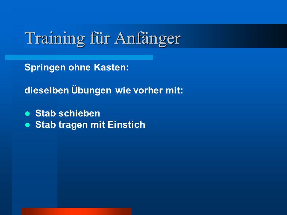 Training für Anfänger Springen ohne Kasten: