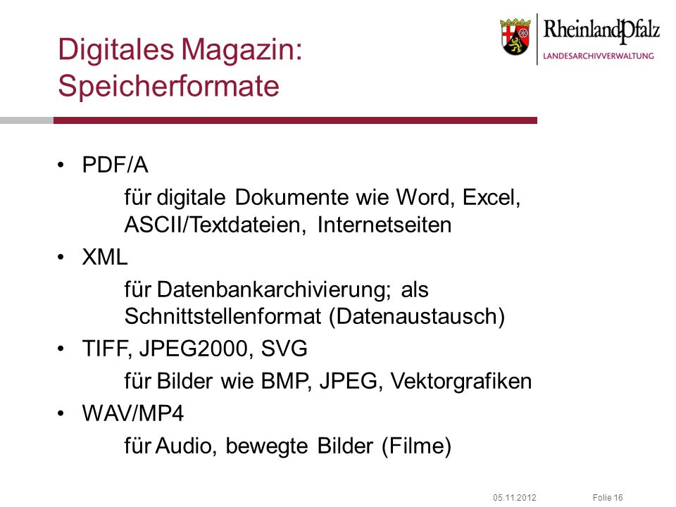 Digitales Magazin: Speicherformate