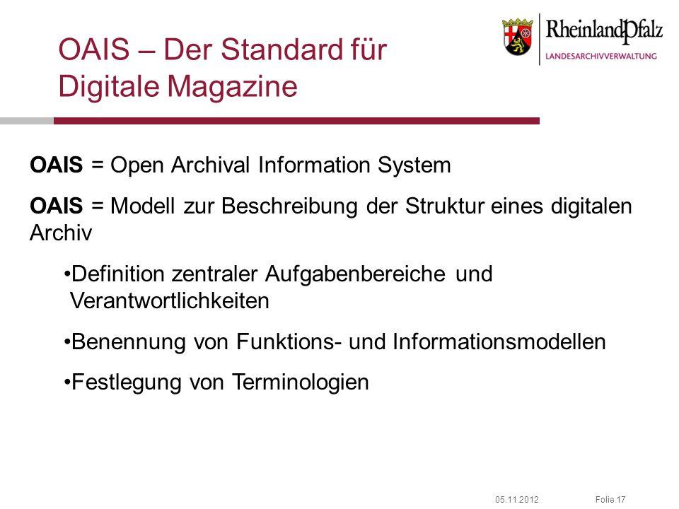 OAIS – Der Standard für Digitale Magazine