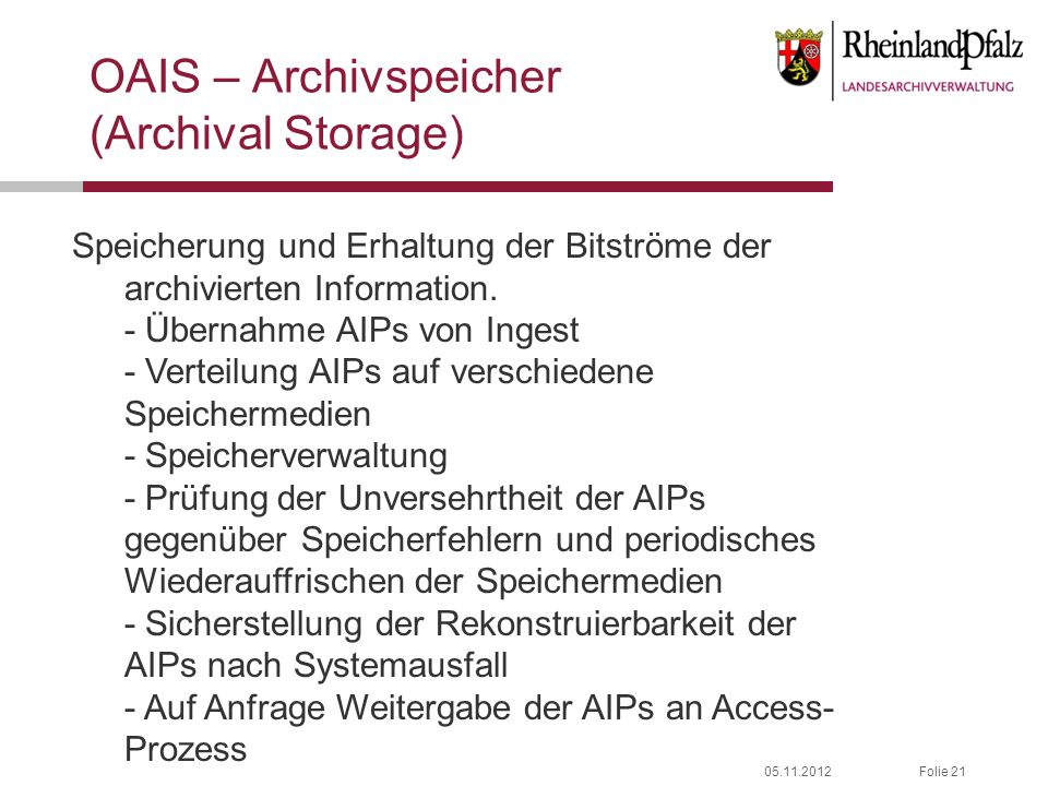 OAIS – Archivspeicher (Archival Storage)