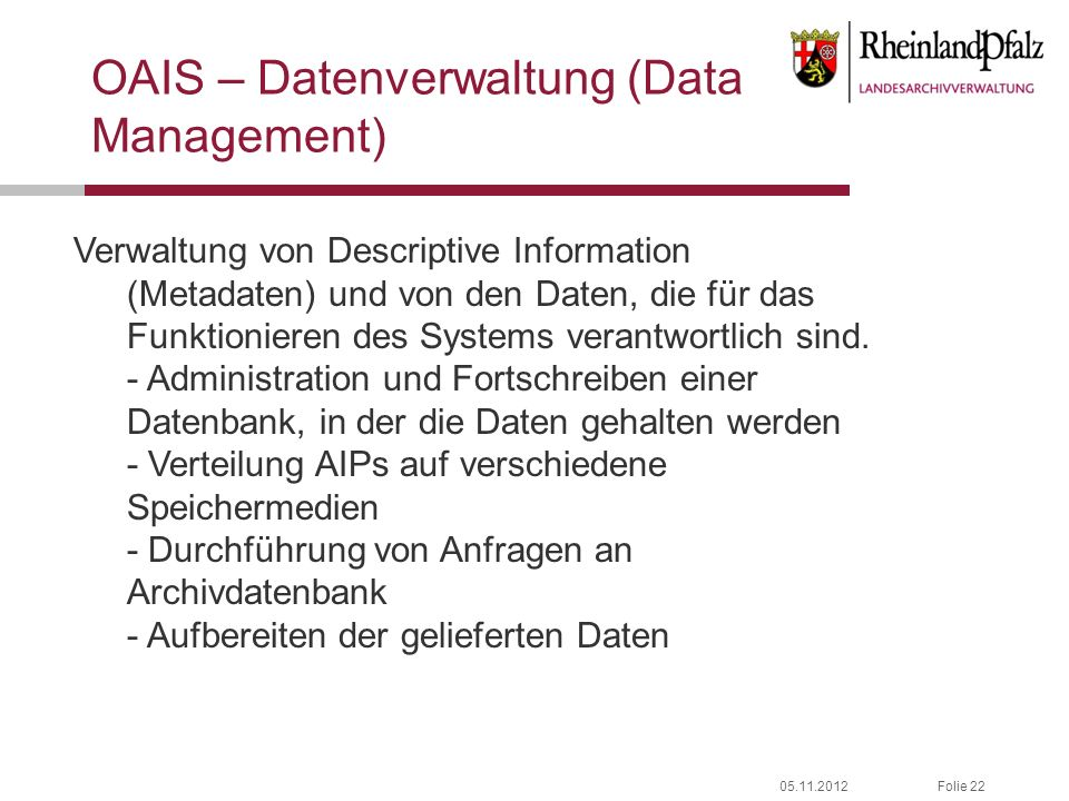 OAIS – Datenverwaltung (Data Management)