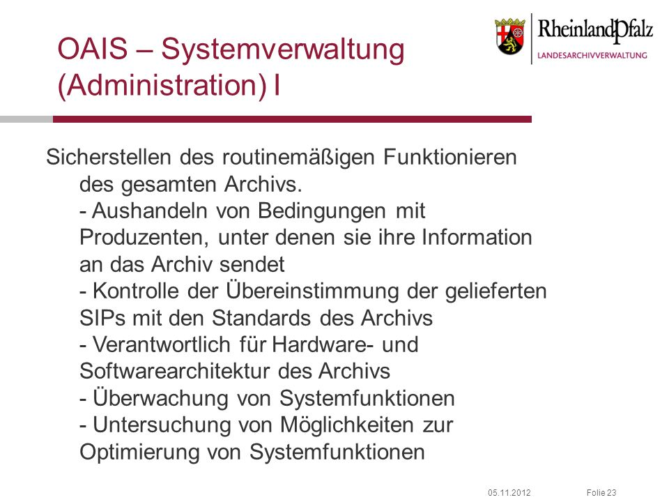 OAIS – Systemverwaltung (Administration) I