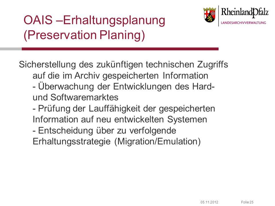 OAIS –Erhaltungsplanung (Preservation Planing)