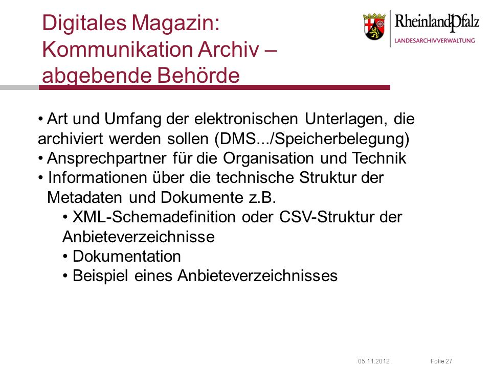 Digitales Magazin: Kommunikation Archiv – abgebende Behörde