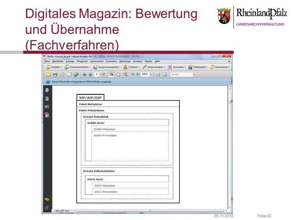 Digitales Magazin: Bewertung und Übernahme (Fachverfahren)