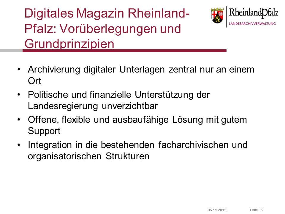 Digitales Magazin Rheinland-Pfalz: Vorüberlegungen und Grundprinzipien