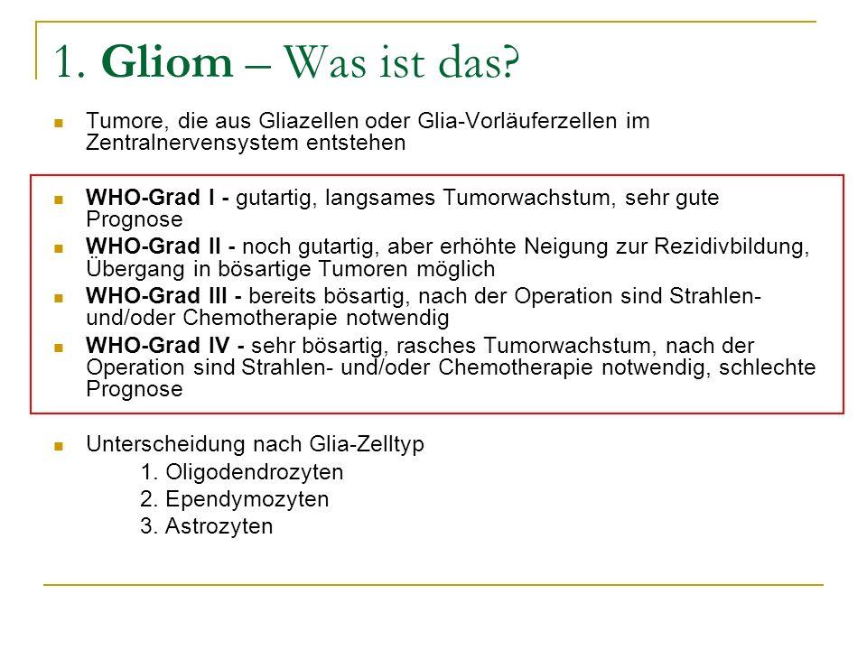 1. Gliom – Was ist das Tumore, die aus Gliazellen oder Glia-Vorläuferzellen im Zentralnervensystem entstehen.