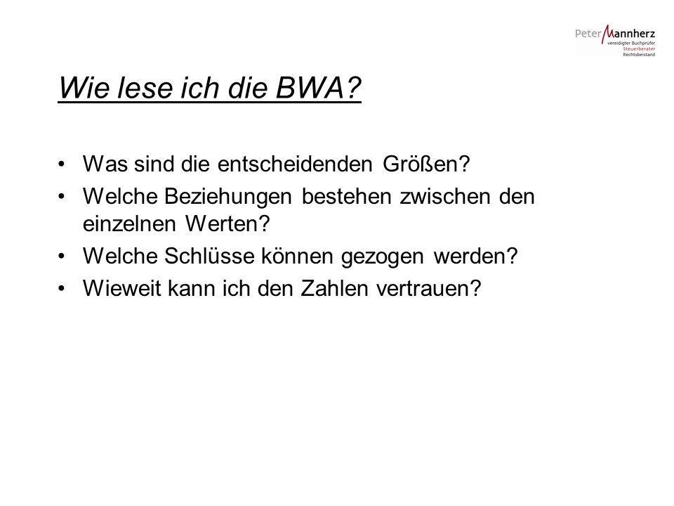 Wie lese ich die BWA Was sind die entscheidenden Größen