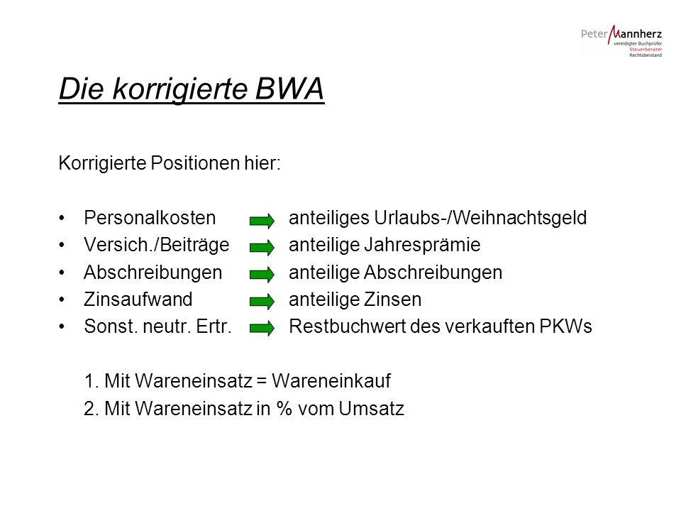 Die korrigierte BWA Korrigierte Positionen hier: