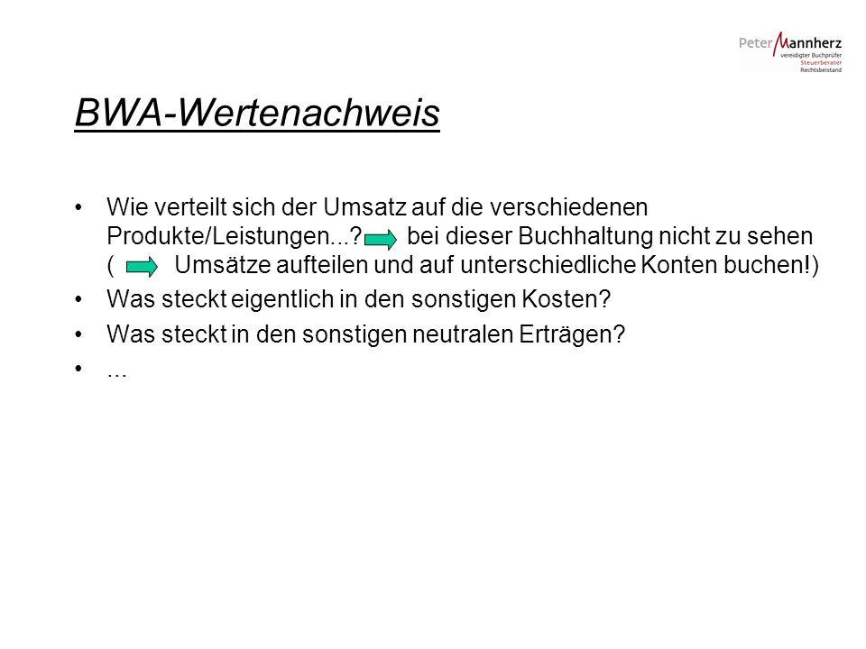 BWA-Wertenachweis