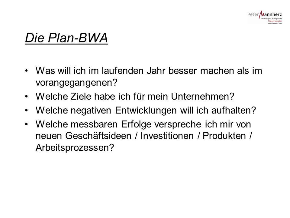 Die Plan-BWA Was will ich im laufenden Jahr besser machen als im vorangegangenen Welche Ziele habe ich für mein Unternehmen