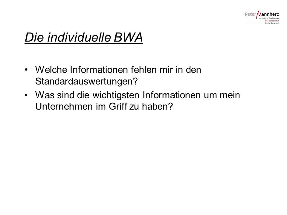 Die individuelle BWA Welche Informationen fehlen mir in den Standardauswertungen