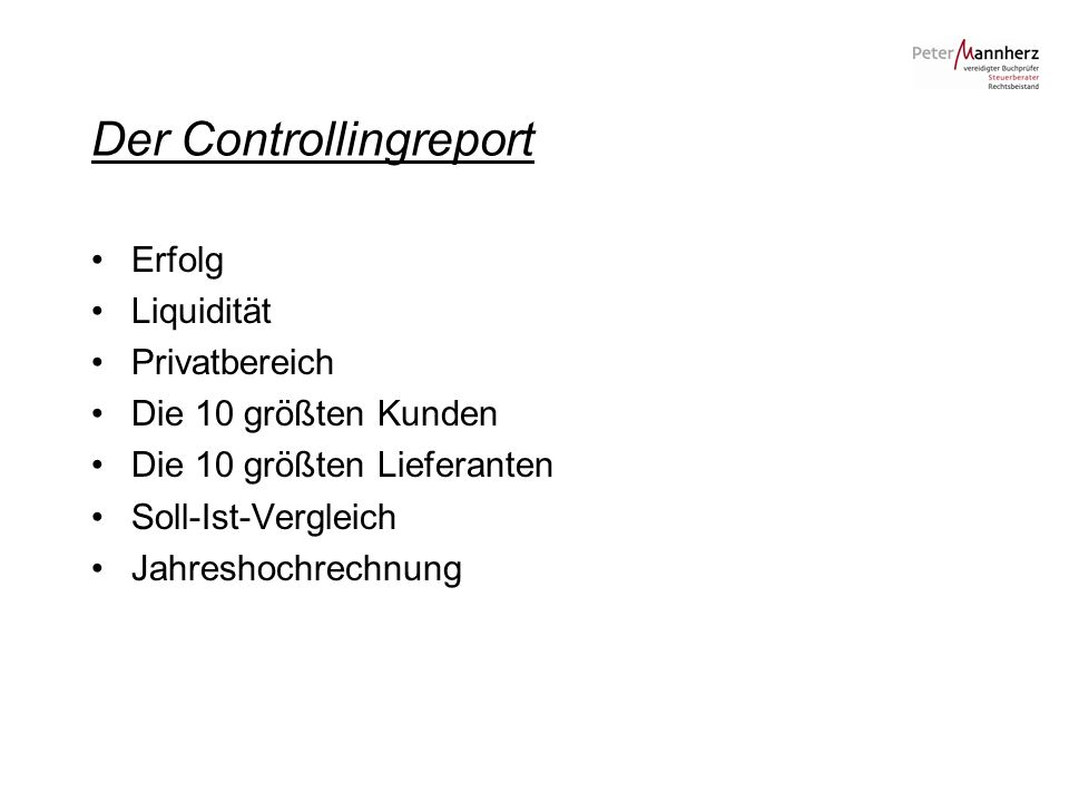 Der Controllingreport