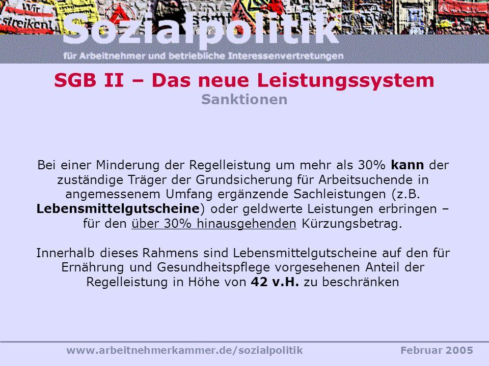 SGB II – Das neue Leistungssystem Sanktionen