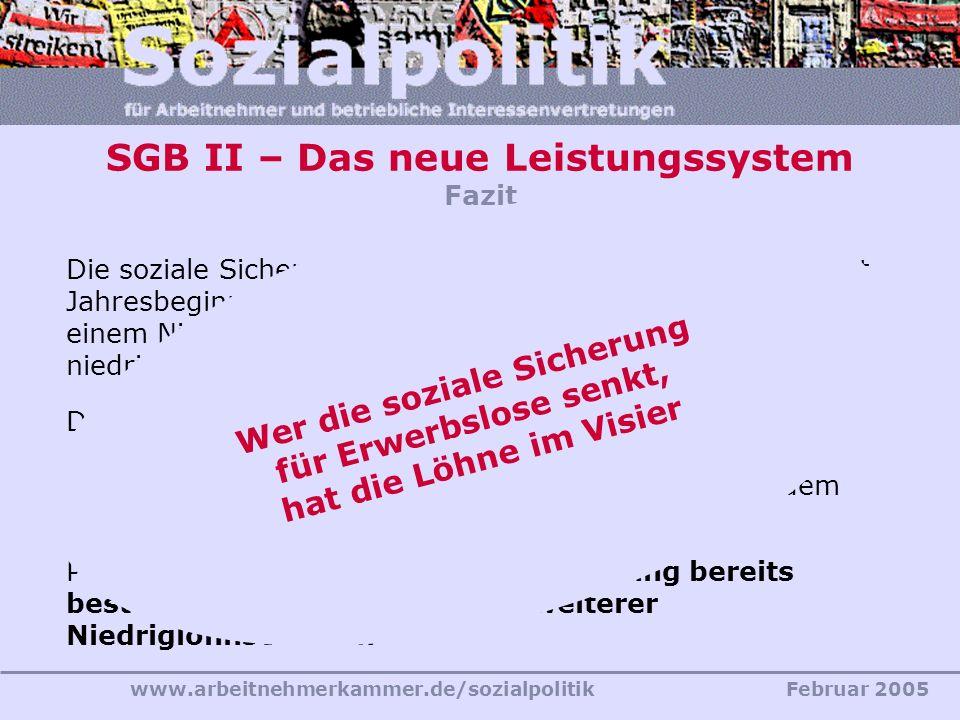 SGB II – Das neue Leistungssystem Fazit