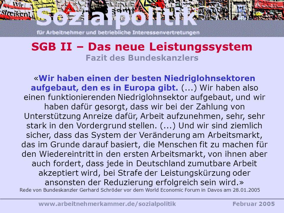 SGB II – Das neue Leistungssystem Fazit des Bundeskanzlers
