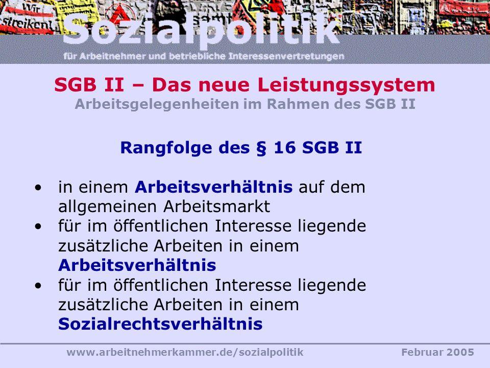SGB II – Das neue Leistungssystem Arbeitsgelegenheiten im Rahmen des SGB II