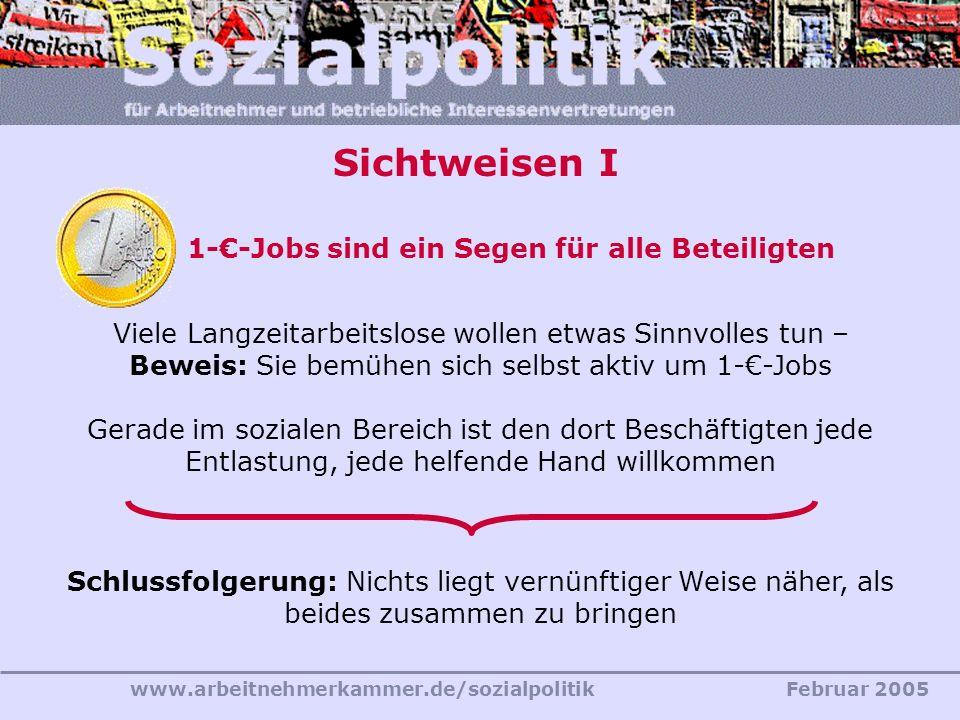 Sichtweisen I 1-€-Jobs sind ein Segen für alle Beteiligten