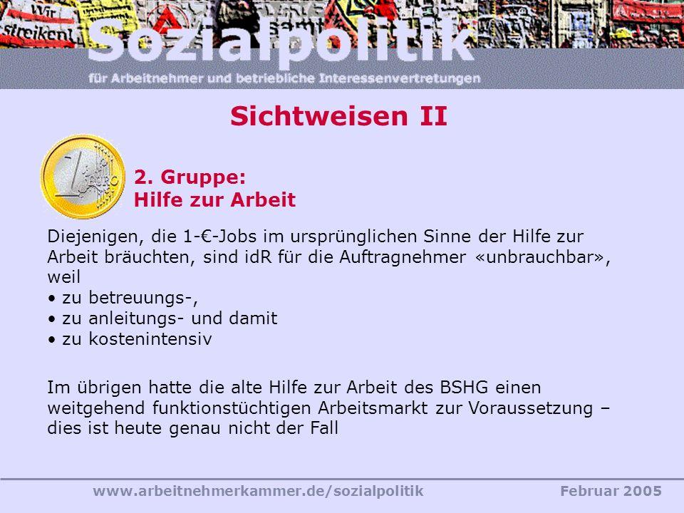 Sichtweisen II 2. Gruppe: Hilfe zur Arbeit