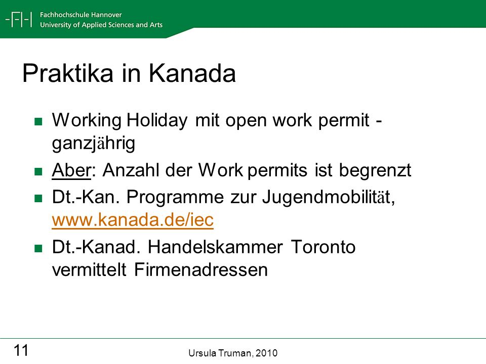 Praktika in Kanada Working Holiday mit open work permit - ganzjährig