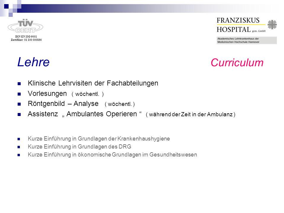 Lehre Curriculum Klinische Lehrvisiten der Fachabteilungen