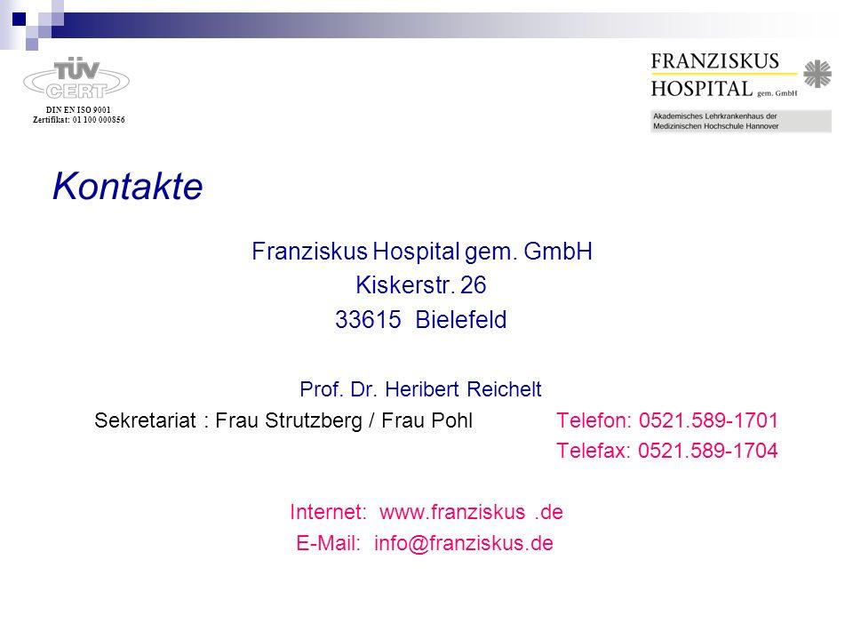 Kontakte Franziskus Hospital gem. GmbH Kiskerstr. 26 33615 Bielefeld