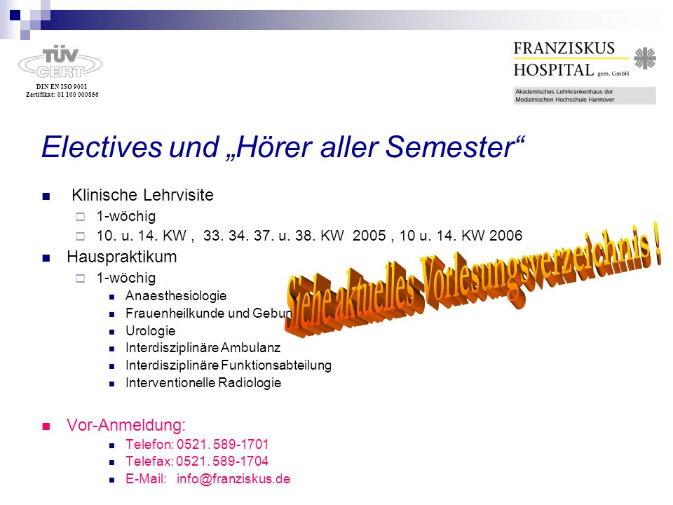 """Electives und """"Hörer aller Semester"""