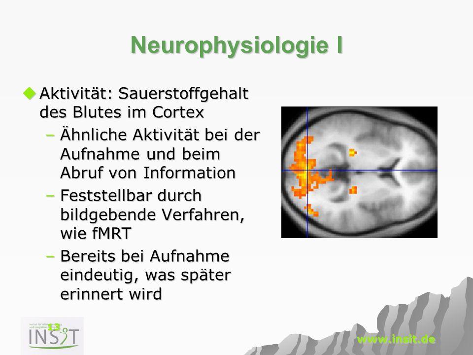 Neurophysiologie I Aktivität: Sauerstoffgehalt des Blutes im Cortex