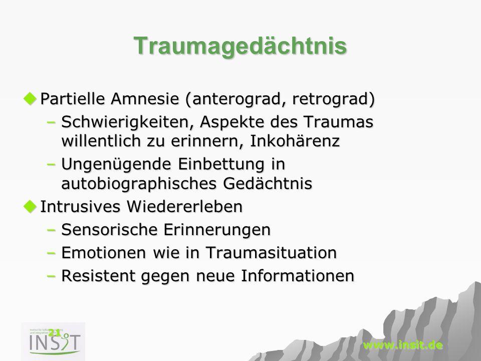 Traumagedächtnis Partielle Amnesie (anterograd, retrograd)