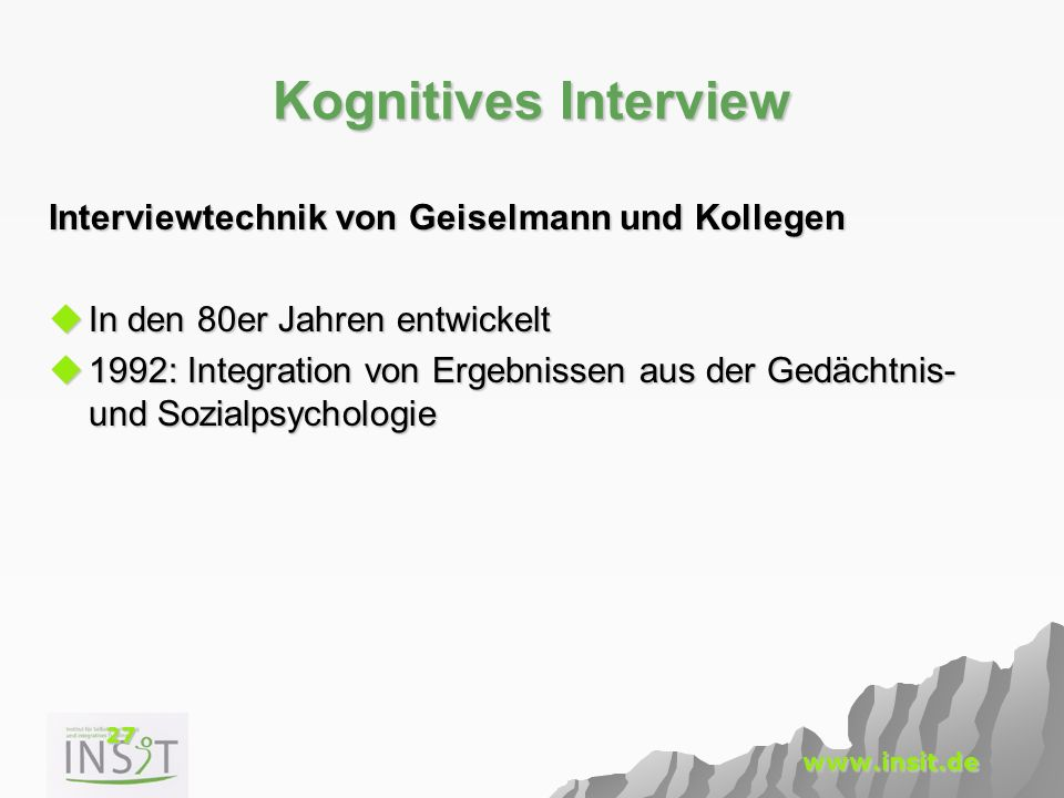 Kognitives Interview Interviewtechnik von Geiselmann und Kollegen