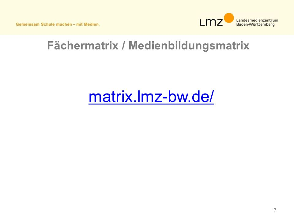 Fächermatrix / Medienbildungsmatrix