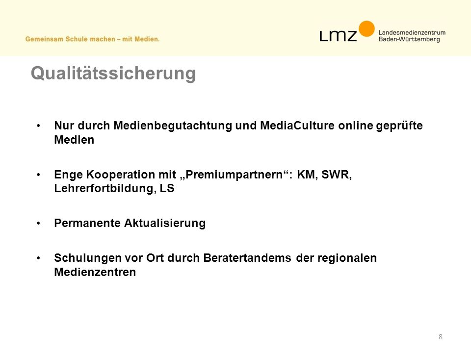 QualitätssicherungNur durch Medienbegutachtung und MediaCulture online geprüfte Medien.
