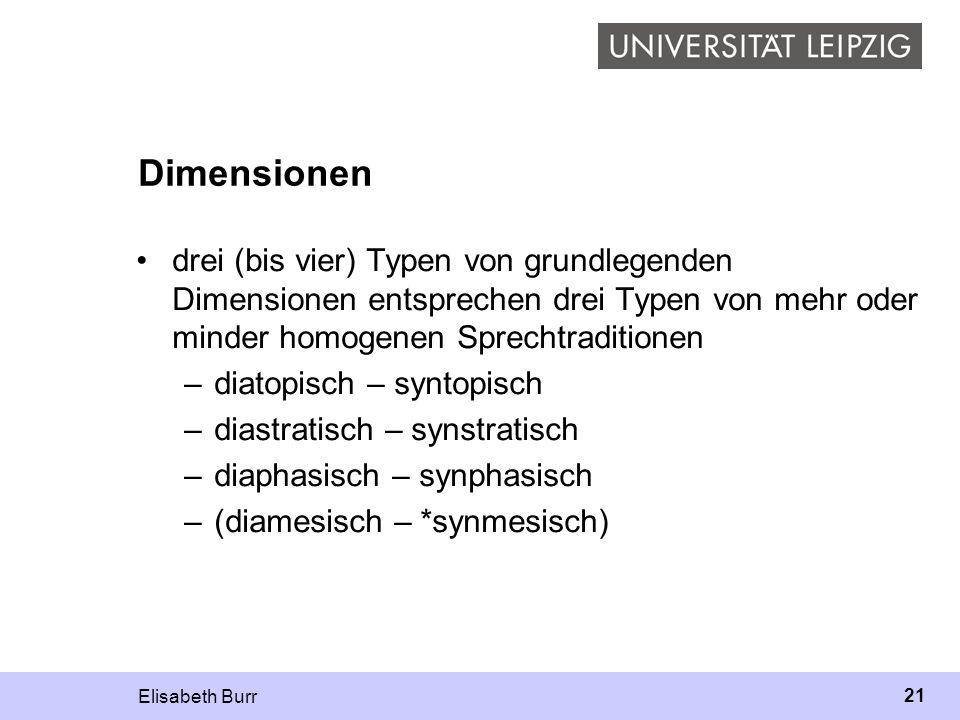 Dimensionen drei (bis vier) Typen von grundlegenden Dimensionen entsprechen drei Typen von mehr oder minder homogenen Sprechtraditionen.